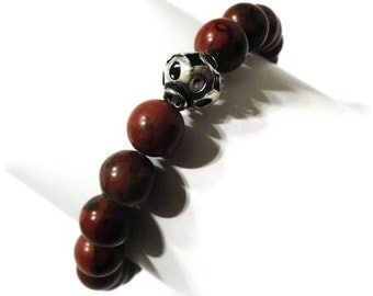 Braciated Jasper and Silver Bead Bracelet