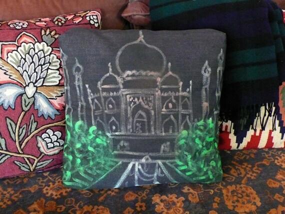 Handmade Neon TAJ MAHAL throw pillow