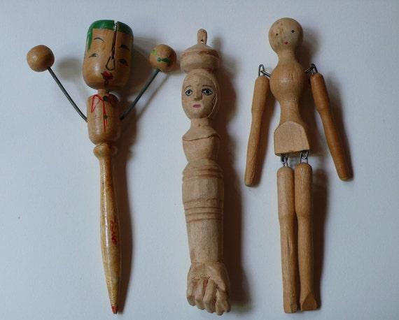 Lot of 3 Unusal WOODEN Dolls