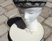 Miss Sally Victor  hat box and velvet feather-trimmed hat - 1950s