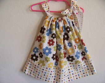 Retro Flowers Pillowcase Dress in size 12 mon also available in sizes 6-9 mon,2T,3T and 4T