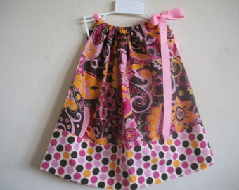 Hot Pink and Brown  Pillowcase Dress Size 12 mon also available in sizes 3-6 mon,6-9 mon, 18 mon, 24 mon, 2T,3Tand 4T
