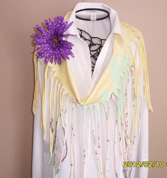 Spring Yellow Pastels Recycled T-Shirt Scarf