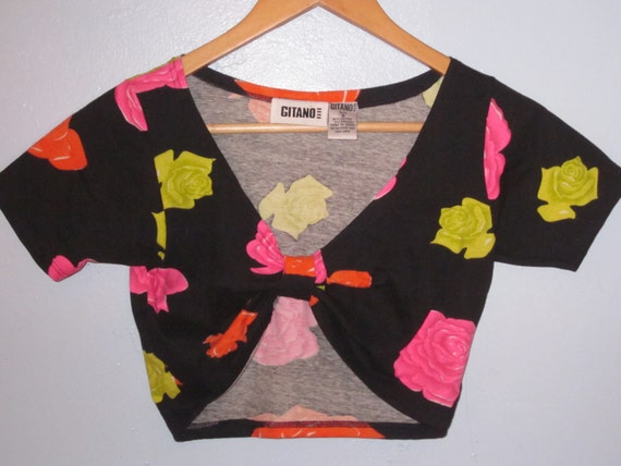 Vintage neon floral Gitano cropped shirt