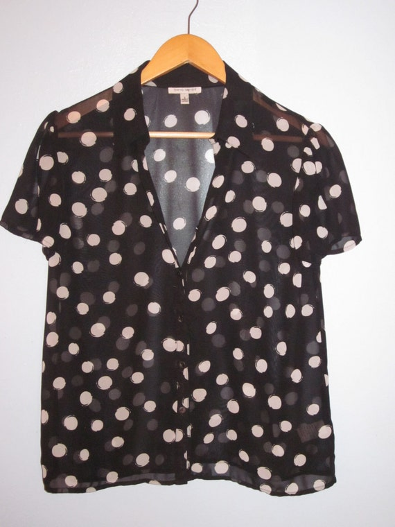 Vintage s/s sheer polka dot blouse
