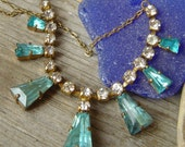 RESERVED LISTING  ////////////////////////////Art Deco Blue Rhinestone Necklace