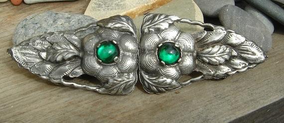 SALE // Antique Art Nouveau Silver and Emerald Green Glass Belt Buckle