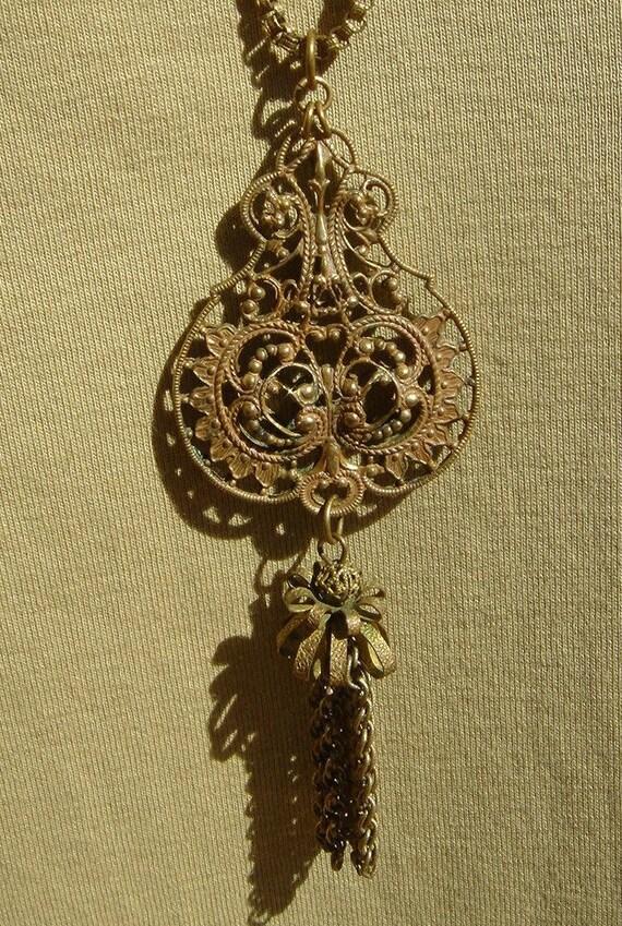 RESERVED LISTING for Modblossom //  SALE // Antique Ornate Victorian Etruscan Revival Tassel Necklace