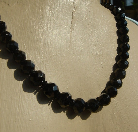 SALE // Antique Victorian French Jet Glass Beaded Necklace