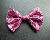 Pink Lace over Black PVC Hair BOW