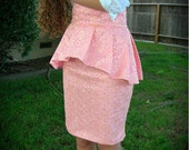 Peach Lace over Light pink Cotton High waisted Pencil Skirt with Pleated High-Low Peplem