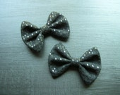 2 Matching Black Faux Suede and Sequins Hair BOWS