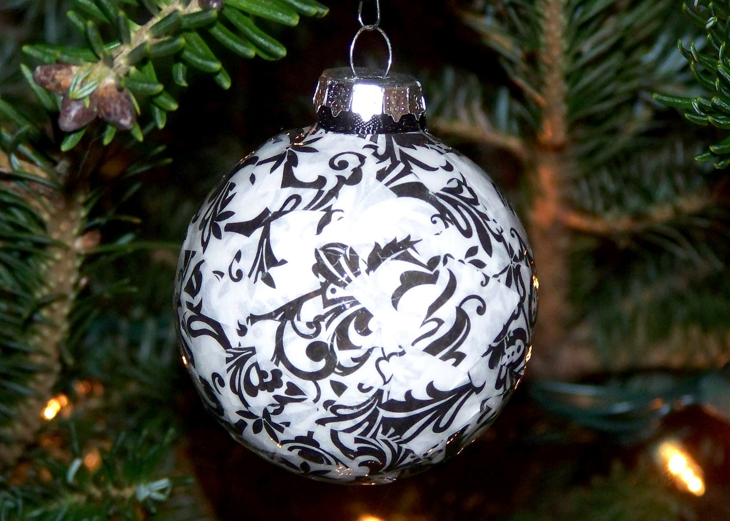 3 Black & White Damask Christmas Ornaments Set of by ...