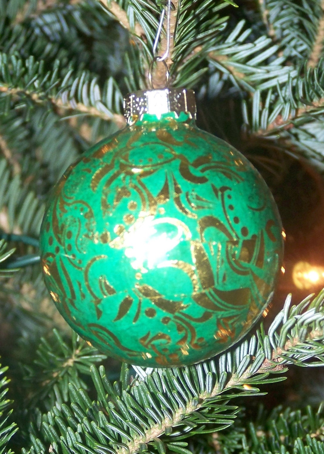 Christmas Ornaments 3 Green and Gold Damask Set of 3 Beautiful Christmas