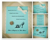Sixpence for Your Shoe Tiffany Blue and Ivory Keepsake Card