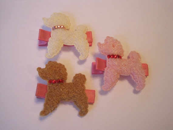 Three poodle dog barrettes hair clips (pink, brown, and white) with Swarovski crystallized element collars