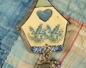Vintage Enameled Bird House Brooch Signed LOVELY