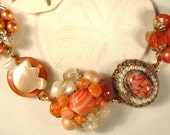 Tangerine Pearl, Crystal and Mother of Pearl Cluster Earring Bracelet GORGEOUS