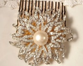 TRUE Vintage Ivory Pearl & Paved Rhinestone Bridal Hair Comb,  Gold Heirloom Brooch on 22K Gold Plated Hair Comb OOAK