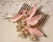 RESERVED OOAK Vintage Paris Pink & Ivory Pearl Bridal Hair Comb, Heirloom Brooch on Gold Plated Hair Comb