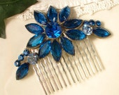 """OOAK TRUE Vintage Peacock Montana Blue Bridal Hair Comb, Heirloom Brooch Silver Plated Comb 3"""" Exquisite"""
