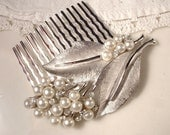 Vintage Signed TRIFARI Pearl & Rhinestone Bridal Hair Comb - Silver Plated Heirloom Floral Spray Brooch Comb