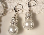 Vintage Wedding White Ivory Pearl & Clear Rhinestone Ball Bridal Drop Earrings, Silver Leaf Dangle Earrings, Bridesmaids Jewelry Gift