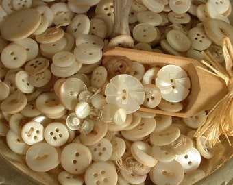 Vintage Mother of Pearl Buttons, Lot of 50 Antique Sewing Buttons, True Vintage Genuine MOP Buttons Large Assorted Lot