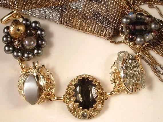 Vintage Gray Pearl & Rhinestone Gold Cluster Earring Bracelet OOAK