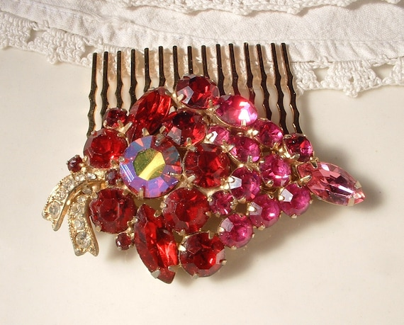 TRUE Vintage WEISS Red & Pink Rhinestone Bridal Hair Comb -  22K Gold Designer Heirloom Brooch Hair Comb