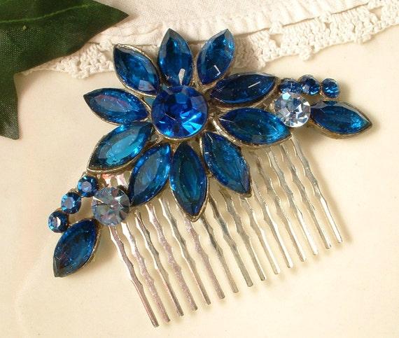 "OOAK TRUE Vintage Peacock Montana Blue Bridal Hair Comb, Heirloom Brooch Silver Plated Comb 3"" Exquisite"
