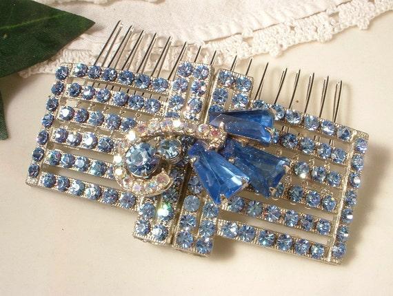 TRUE Vintage Art Deco Blue Rhinestone Vintage Bridal Hair Comb - Heirloom Sterling Plated Jeweled Haircomb