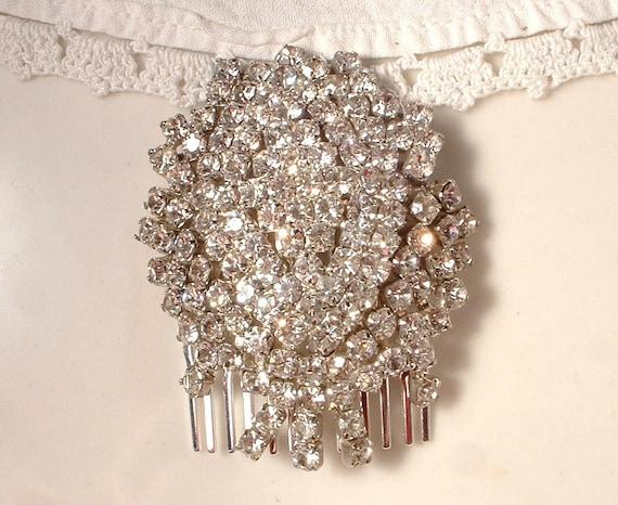 OOAK Vintage Art Deco Rhinestone Trembler Bridal Hair Comb, Vintage Silver Plated Heirloom Brooch Hair Comb