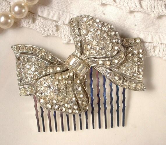 1930s Art Deco Rhinestone Bow Bridal Hair Comb, Pave Crystal Pot Metal OOAK TRUE Vintage Brooch Hair Comb