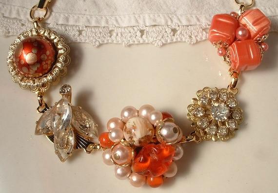 Vintage Coral Bead, Pearl and Crystal Bridal Bracelet, Heirloom Cluster Earring Bracelet GORGEOUS
