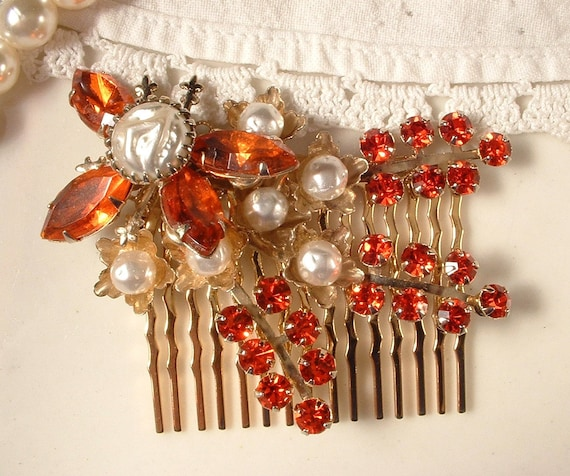 TRUE Vintage Coral & Orange Rhinestone and Pearl Bridal Hair Comb - 22K Gold Heirloom Brooch Hair Comb GORGEOUS