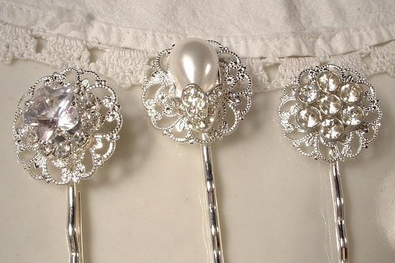 Vintage Wedding White Pearl & Rhinestone Bridal Hair Pins - Sterling Plated Heirloom Jeweled Bobby Pins Set of 3