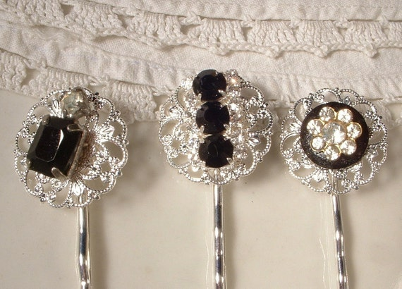 OOAK Black & Clear Rhinestone Bridal Hair Pins, TRUE VINTAGE Jeweled Silver Plated Heirloom Bobby Pins Set of 3, Bridesmaids Gift
