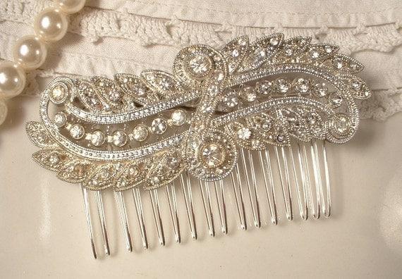 1930s Brooch OR Hair Comb, Pave Rhinestone TRUE Vintage Art Deco OOAK Bridal Brooch