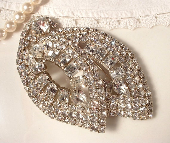 RESERVED Huge Art Deco Bridal Brooch or Hair Comb, True Vintage Crystal Rhinestone 4 Inches EXQUISITE