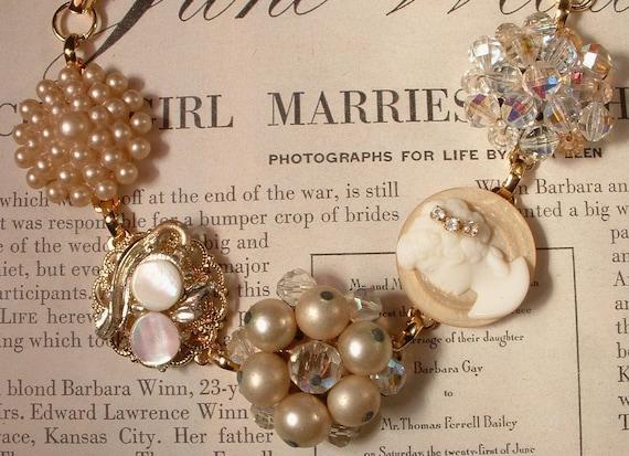 Ivory & Champagne Pearl Gold Bridal Bracelet, Vintage Heirloom Cluster Earring Bracelet OOAK