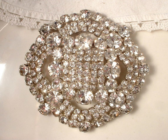 HUGE Brooch OR Hair Comb, Vintage Crystal Rhinestone Round Heirloom Bridal Brooch STUNNING 3.25 Inches