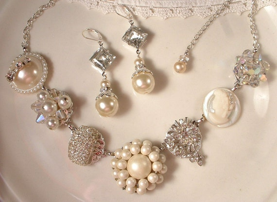 RESERVED Vintage Vanilla Ivory Pearl & Rhinestone Silver Bridal Necklace, Vintage Heirloom Cluster Earring and Brooch Necklace