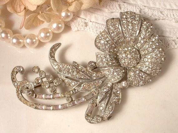 RESERVED Brooch or Hair Comb, 1920s Art Deco Rhinestone, Pave Crystal TRUE Vintage LARGE Floral Spray Bridal Brooch