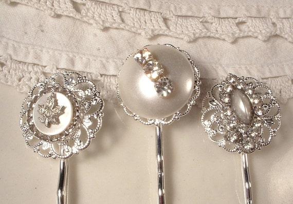 Vintage Wedding White Pearl & Rhinestone Bridal Hair Pins - OOAK Sterling Plated Heirloom Jeweled Bobby Pins Set of 3