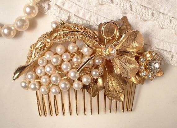 Large Ivory Pearl & Rhinestone Gold Bridal Hair Comb, TRUE Vintage Heirloom 3.5 Inches