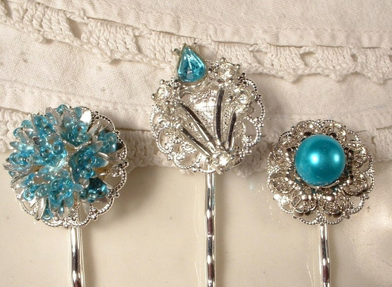 Turquoise Blue Rhinestone Bridal Hair Pins - Silver Plated Heirloom Jeweled Hair Clips Set of 3