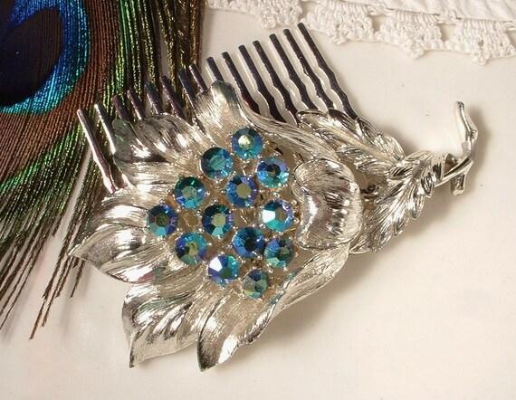 Vintage Peacock Teal Blue Rhinestone Bridal Hair Comb - Heirloom CORO Brooch Jeweled Silver Plated Comb
