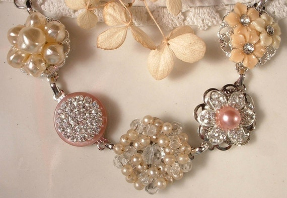 OOAK Vintage Blush Pink & Ivory Pearl and Rhinestone Bridal Bracelet, Heirloom Cluster Earring Silver Plated Bracelet