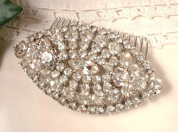 TRUE Vintage Art Deco Old Hollywood Rhinestone Bridal Hair Comb, Large Pave Crystal  Brooch Haircomb OOAK